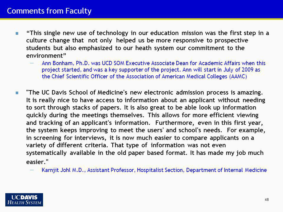 Comments from Faculty