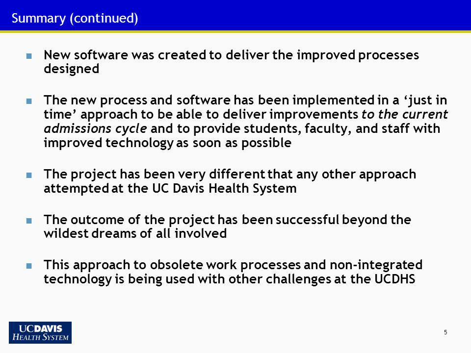 Summary (continued) New software was created to deliver the improved processes designed.
