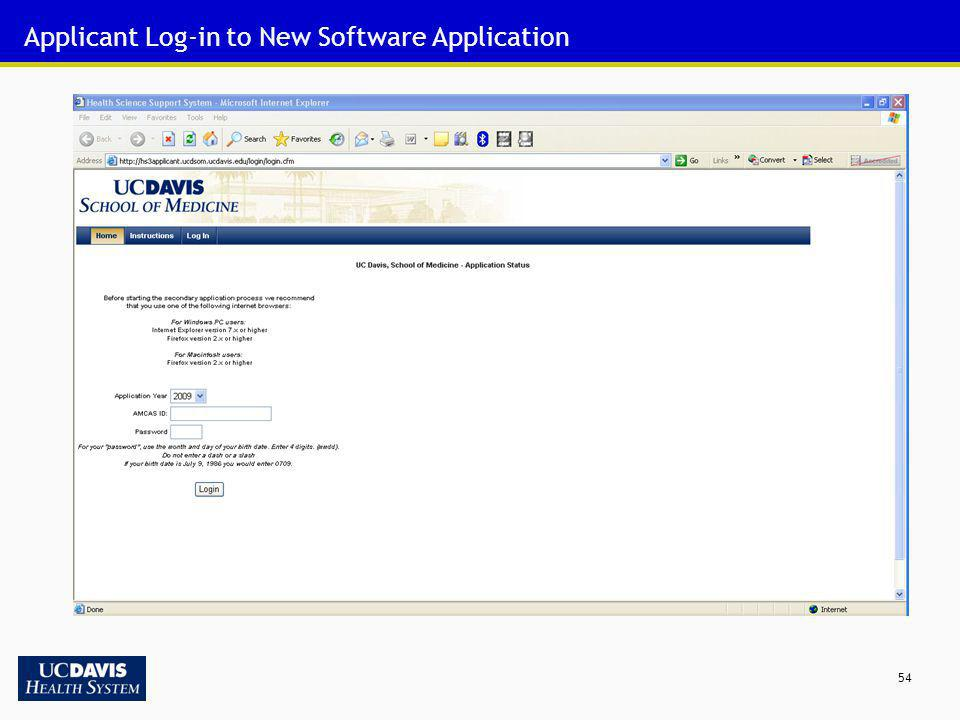 Applicant Log-in to New Software Application