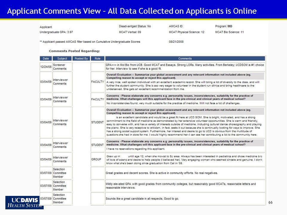 Applicant Comments View – All Data Collected on Applicants is Online
