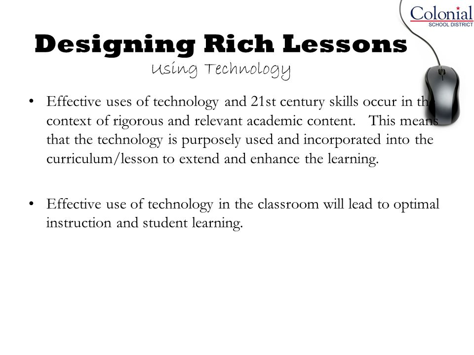 Designing Rich Lessons Using Technology