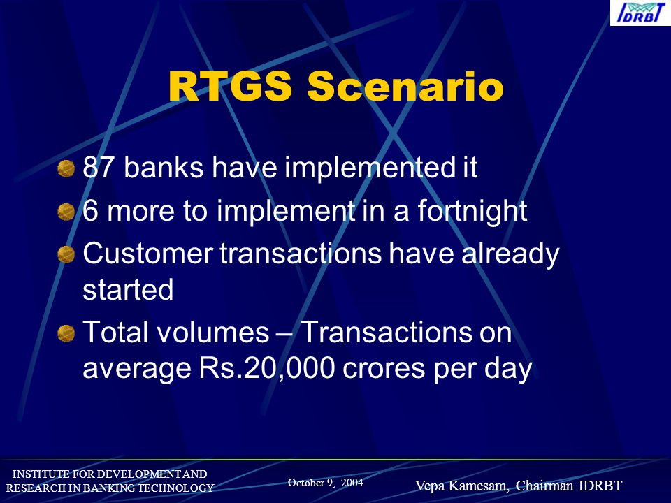 RTGS Scenario 87 banks have implemented it