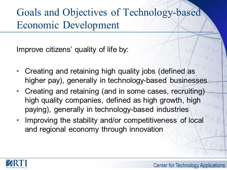 Goals and Objectives of Technology-based Economic Development