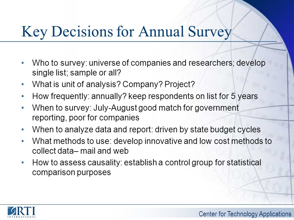 Key Decisions for Annual Survey