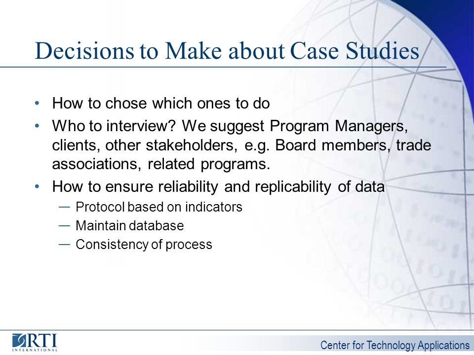 Decisions to Make about Case Studies