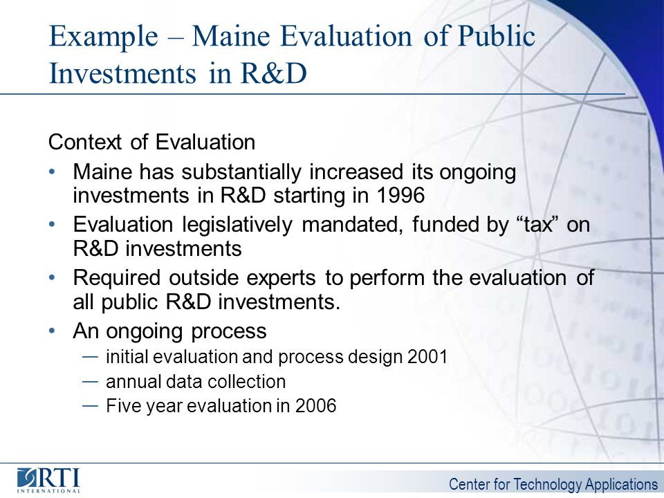 Example – Maine Evaluation of Public Investments in R&D