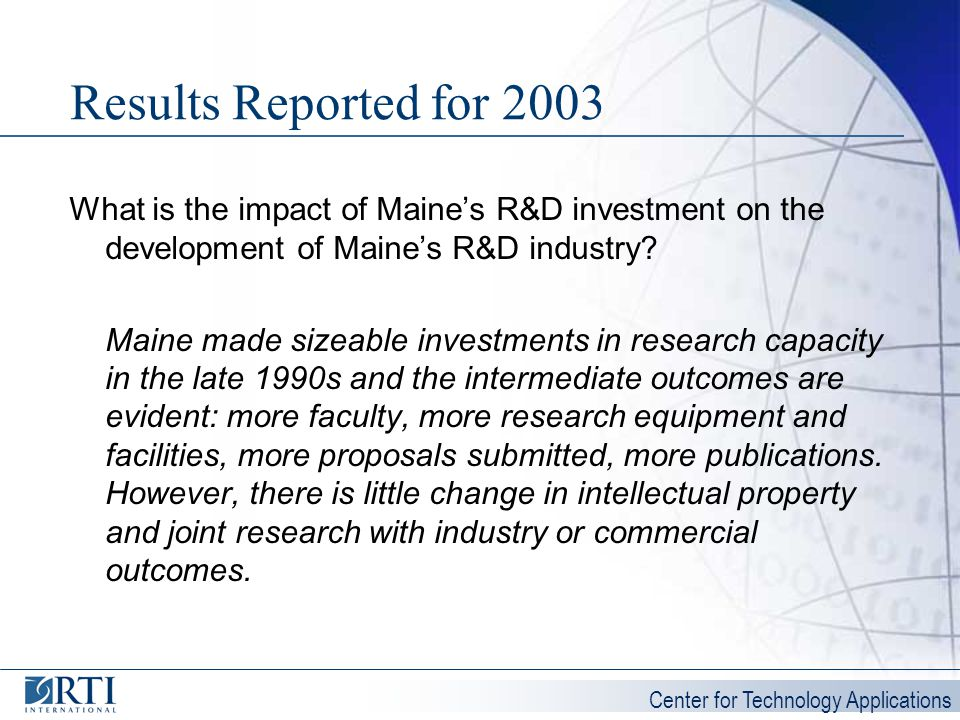Results Reported for 2003 What is the impact of Maine's R&D investment on the development of Maine's R&D industry