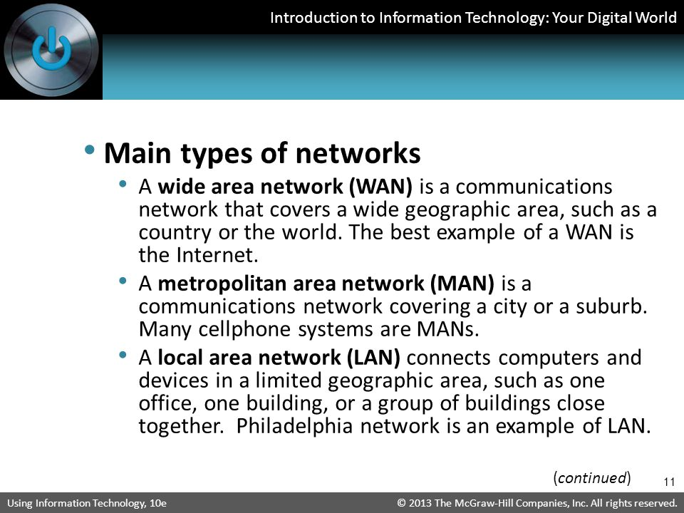Main types of networks