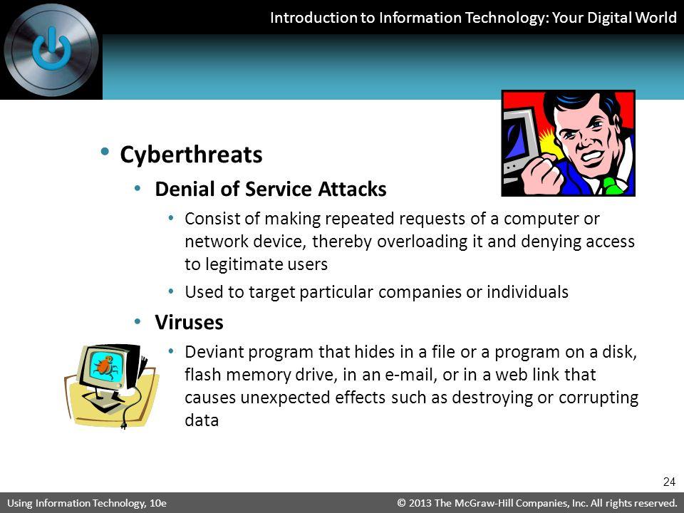 Cyberthreats Denial of Service Attacks Viruses
