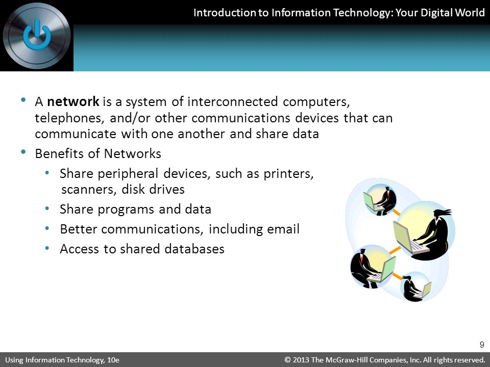 A network is a system of interconnected computers, telephones, and/or other communications devices that can communicate with one another and share data