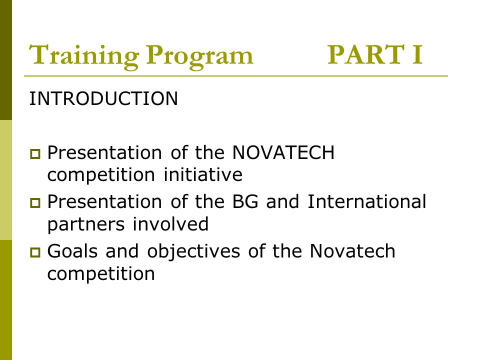 Training Program PART I