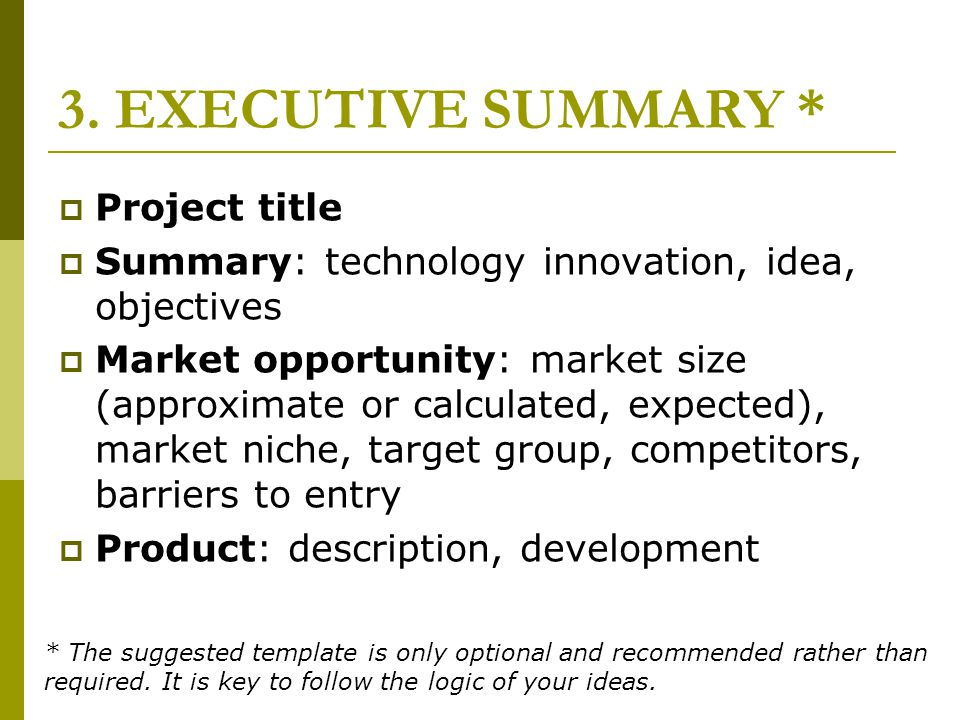 3. EXECUTIVE SUMMARY * Project title