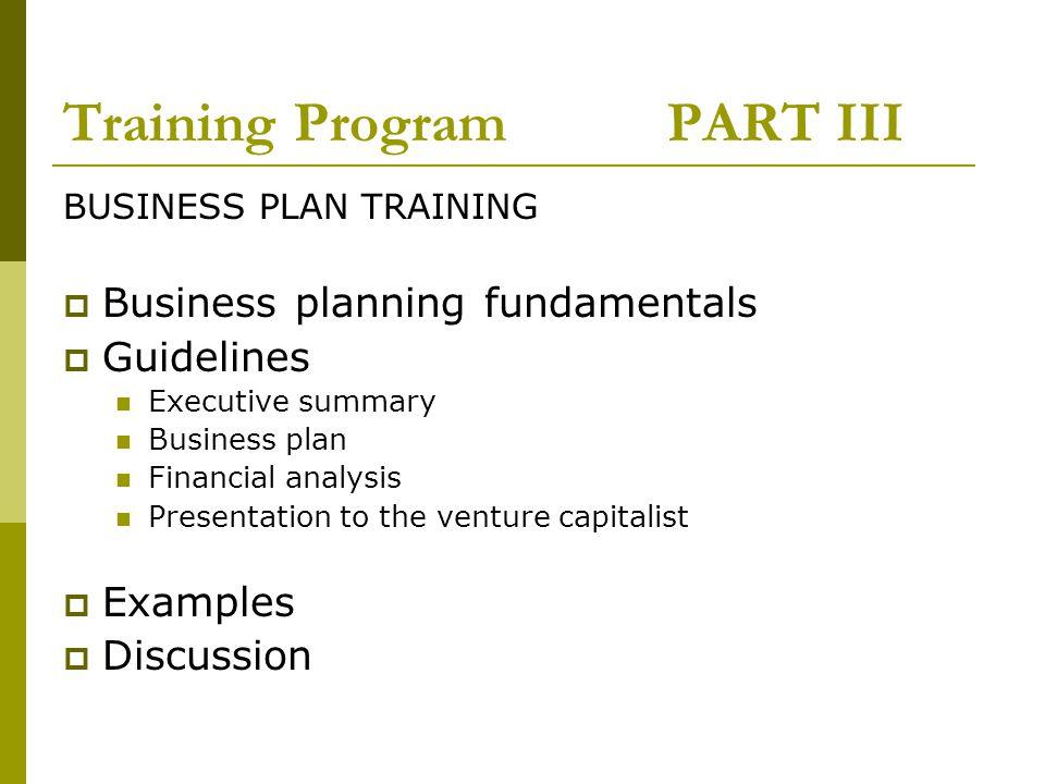Training Program PART III