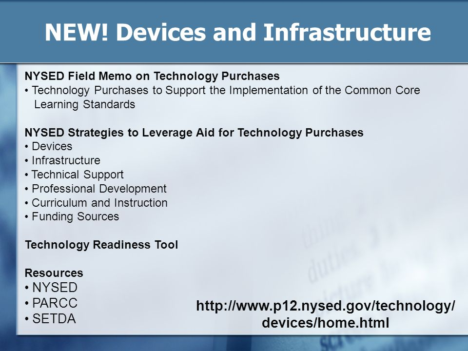 NEW! Devices and Infrastructure