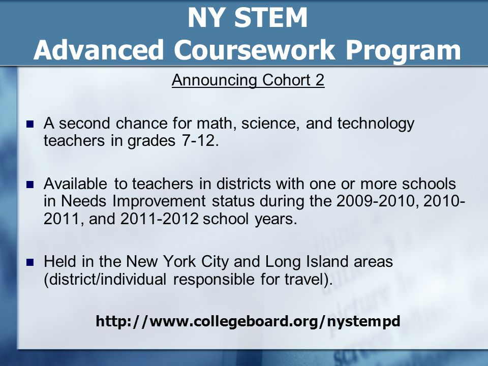 NY STEM Advanced Coursework Program