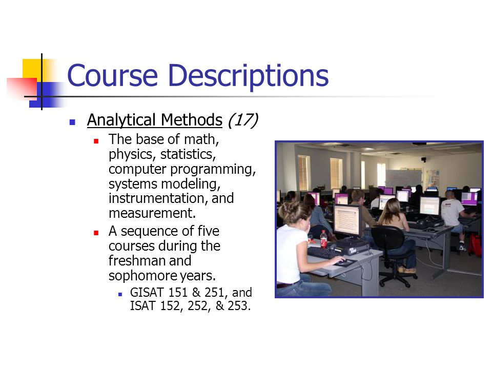 Course Descriptions Analytical Methods (17)