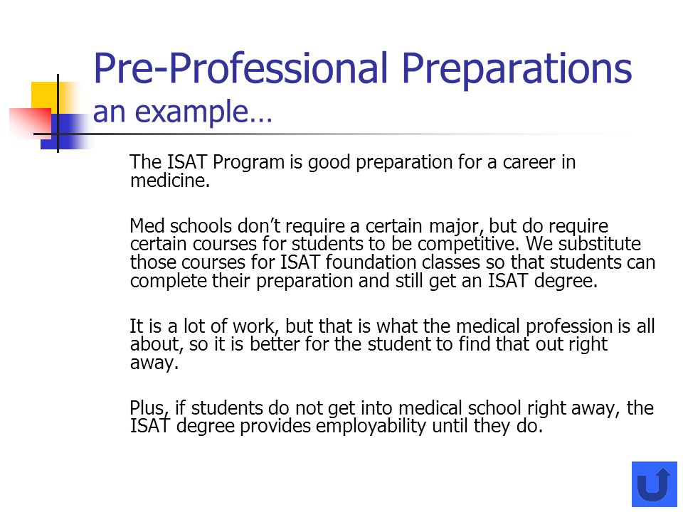 Pre-Professional Preparations an example…