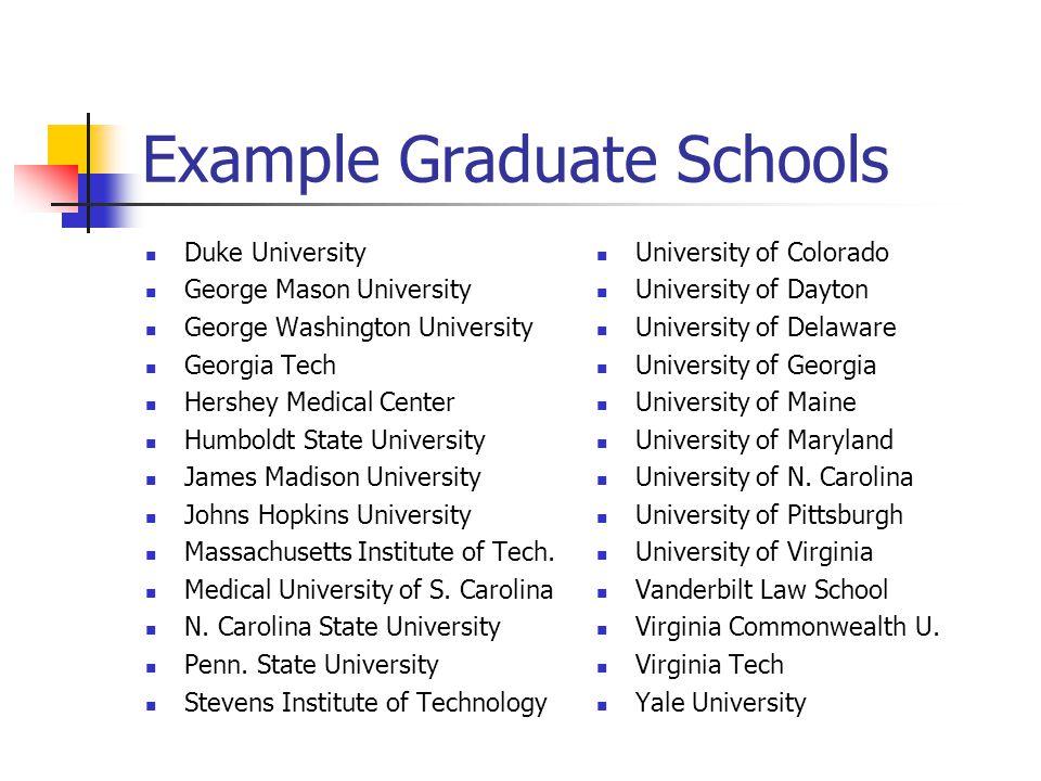 Example Graduate Schools