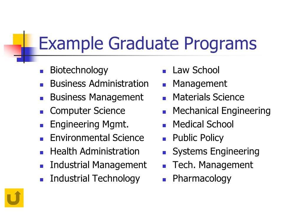 Example Graduate Programs