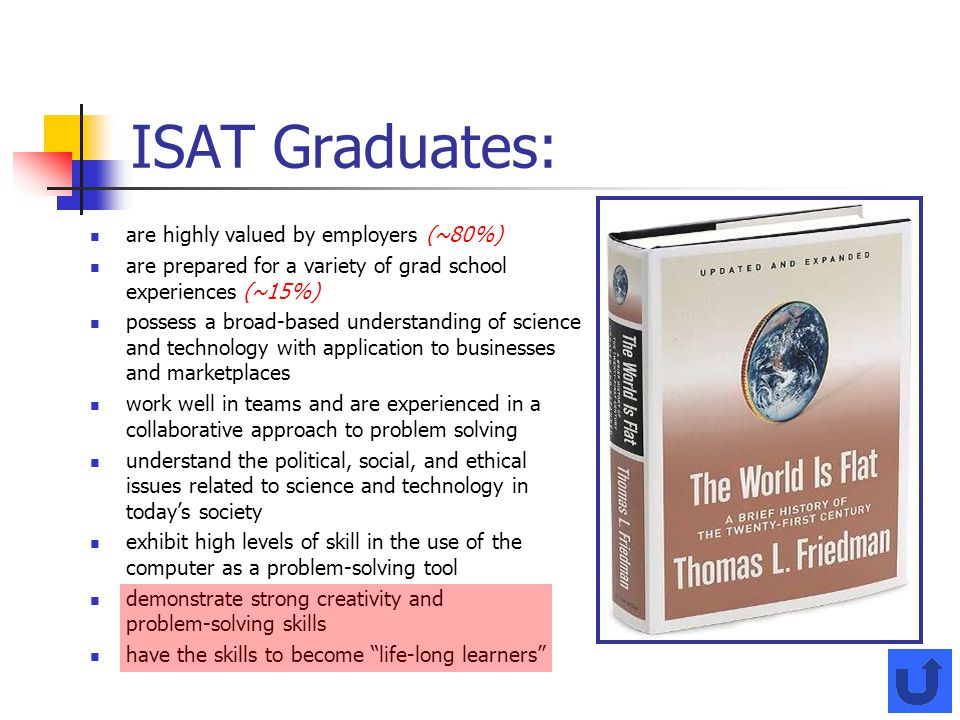 ISAT Graduates: are highly valued by employers (~80%)
