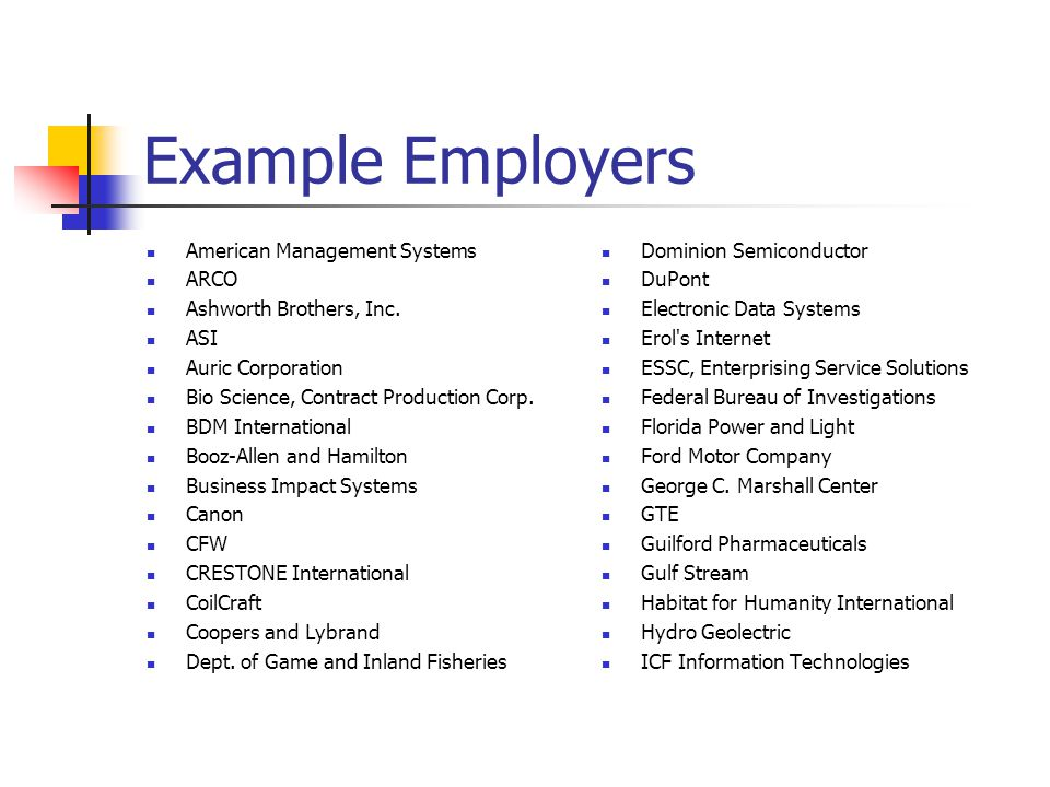 Example Employers American Management Systems ARCO
