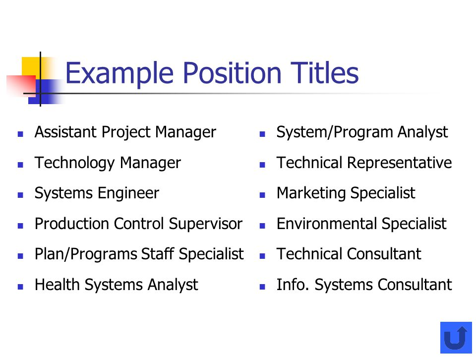 Example Position Titles