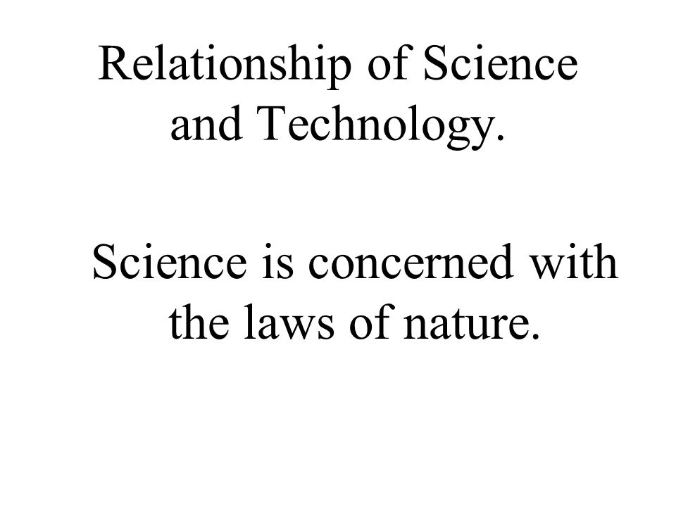 Relationship of Science and Technology.