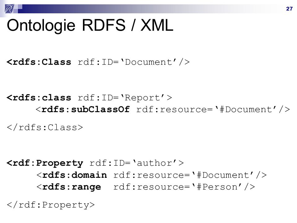 Ontologie RDFS / XML <rdfs:Class rdf:ID='Document'/>