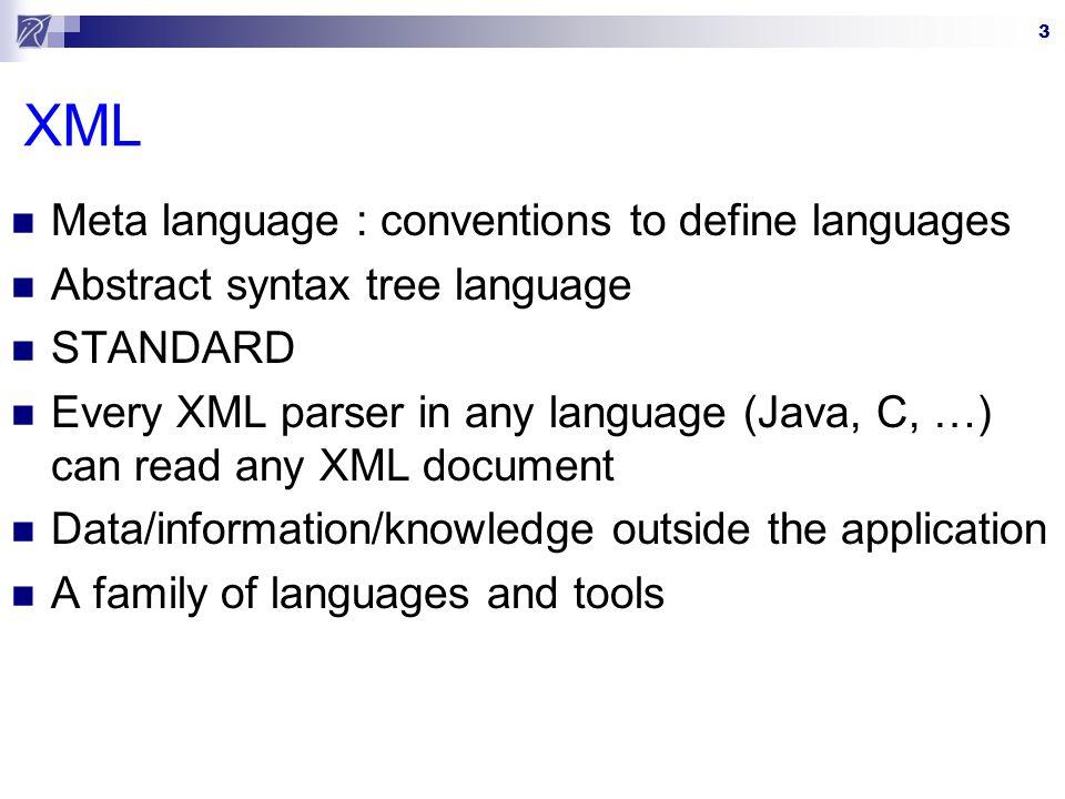 XML Meta language : conventions to define languages