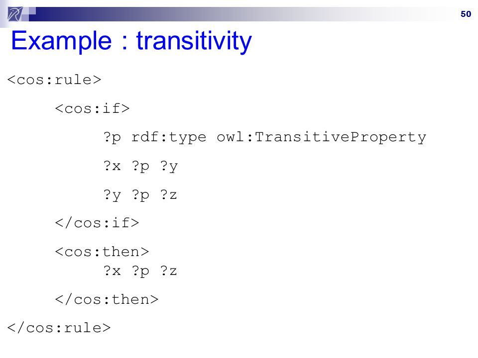 Example : transitivity