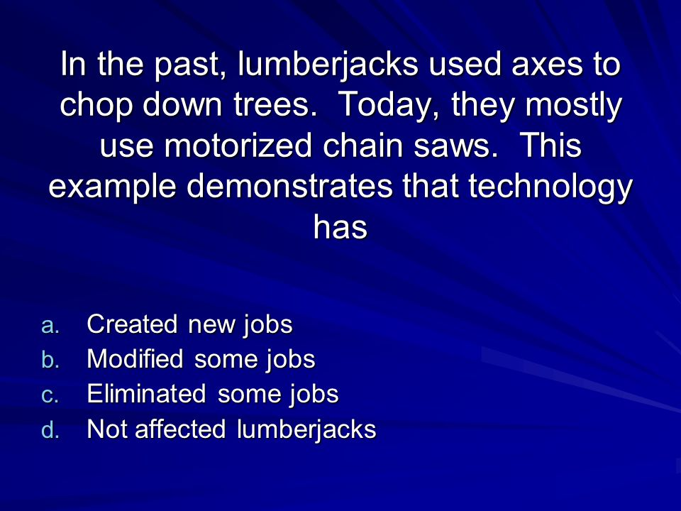 In the past, lumberjacks used axes to chop down trees