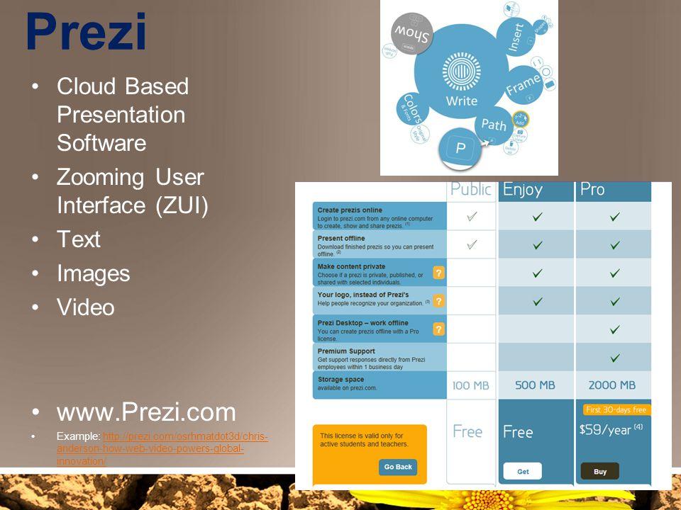 Prezi www.Prezi.com Cloud Based Presentation Software