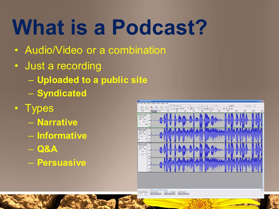 What is a Podcast Audio/Video or a combination Just a recording Types