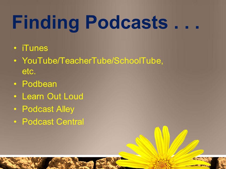 Finding Podcasts . . . iTunes YouTube/TeacherTube/SchoolTube, etc.