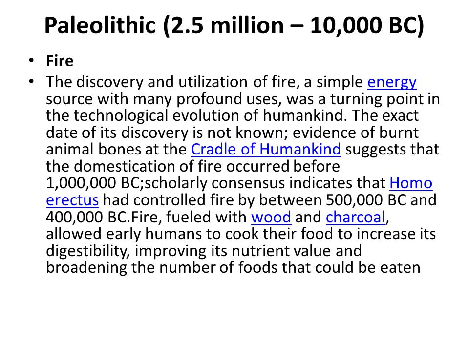 Paleolithic (2.5 million – 10,000 BC)