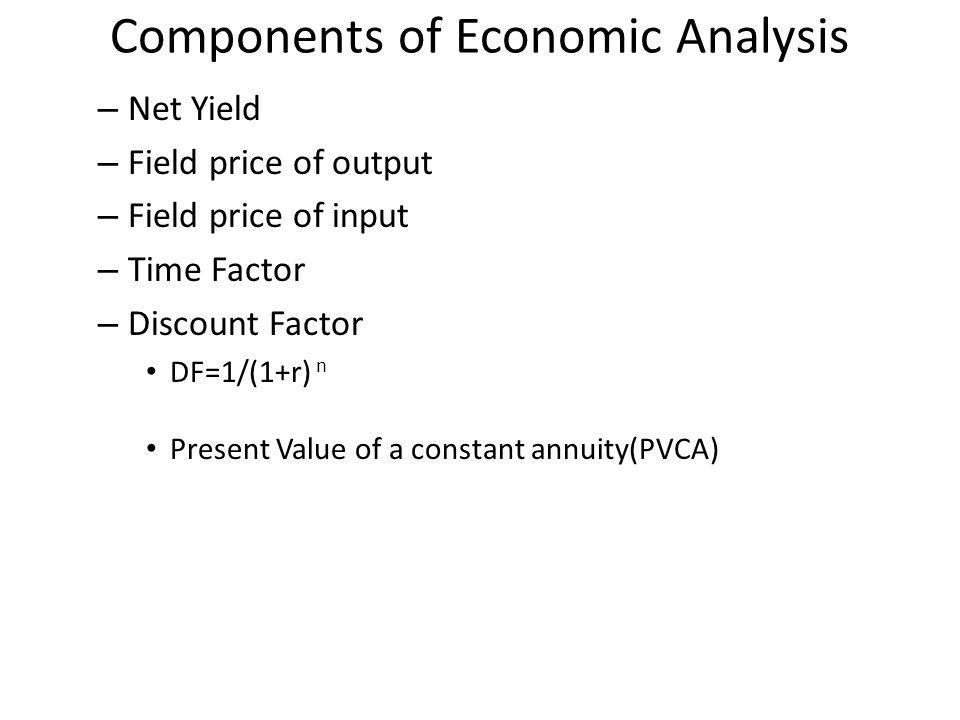 Components of Economic Analysis
