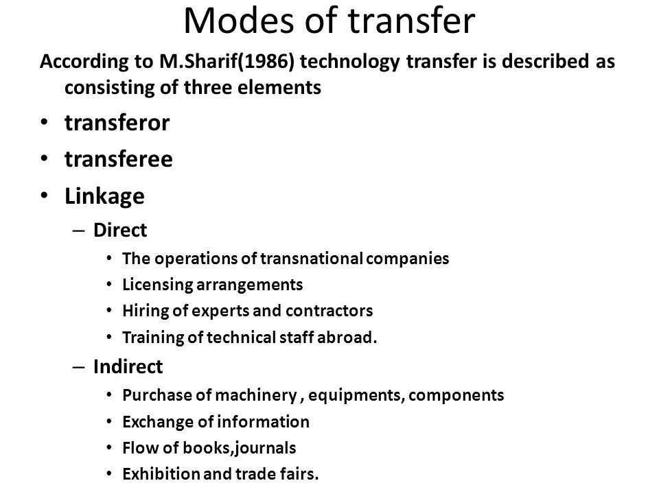 Modes of transfer transferor transferee Linkage