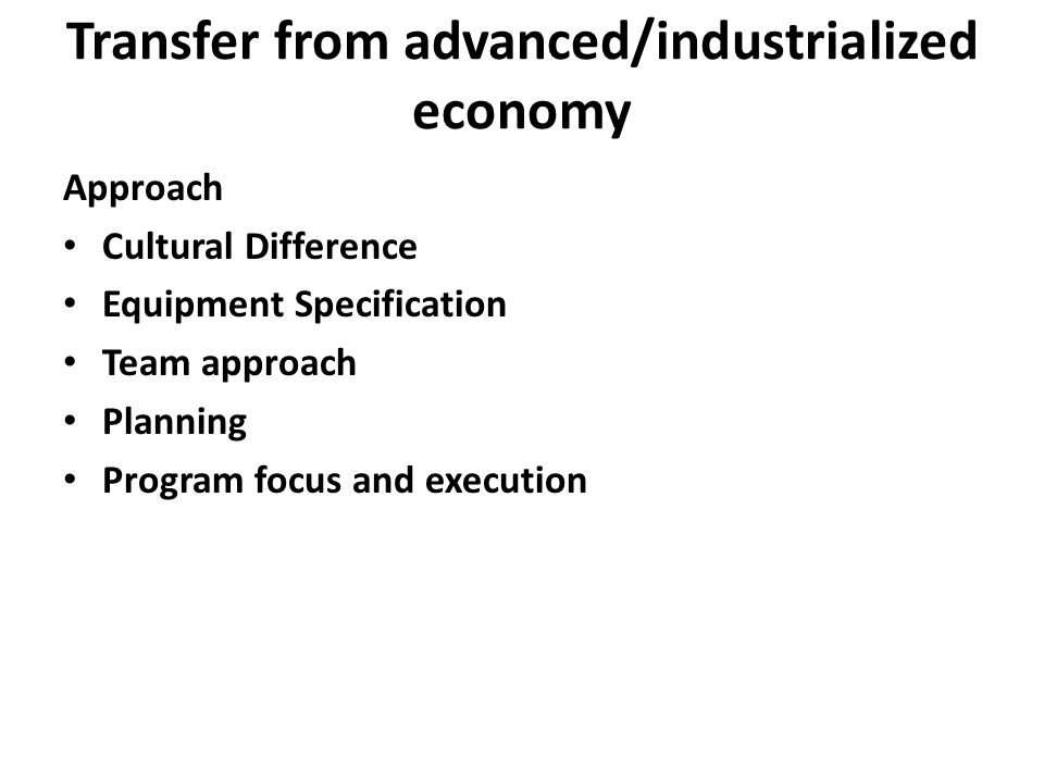 Transfer from advanced/industrialized economy