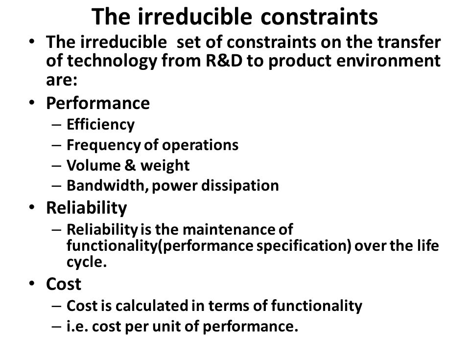 The irreducible constraints
