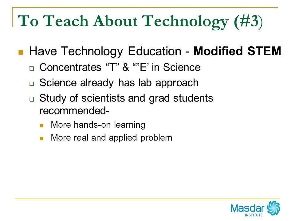 To Teach About Technology (#3)