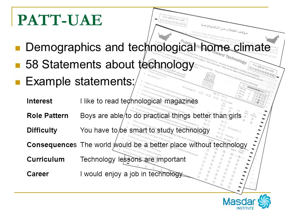 PATT-UAE Demographics and technological home climate