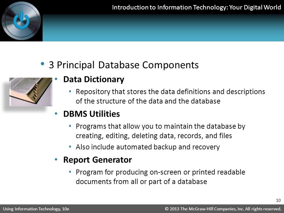 3 Principal Database Components