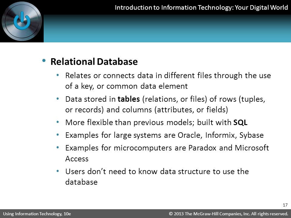 Relational Database Relates or connects data in different files through the use of a key, or common data element.