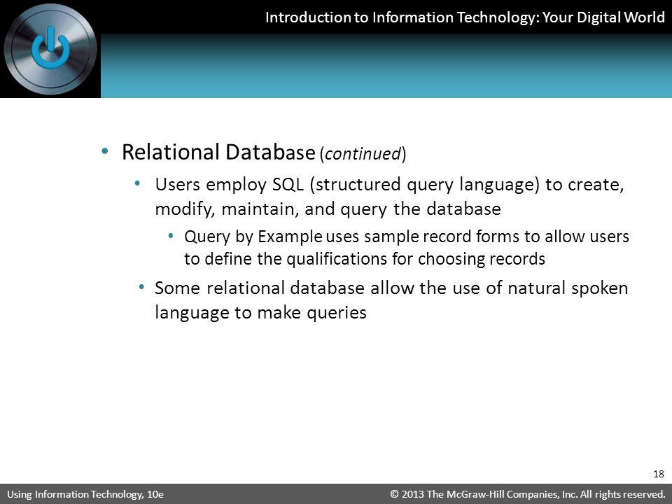 Relational Database (continued)