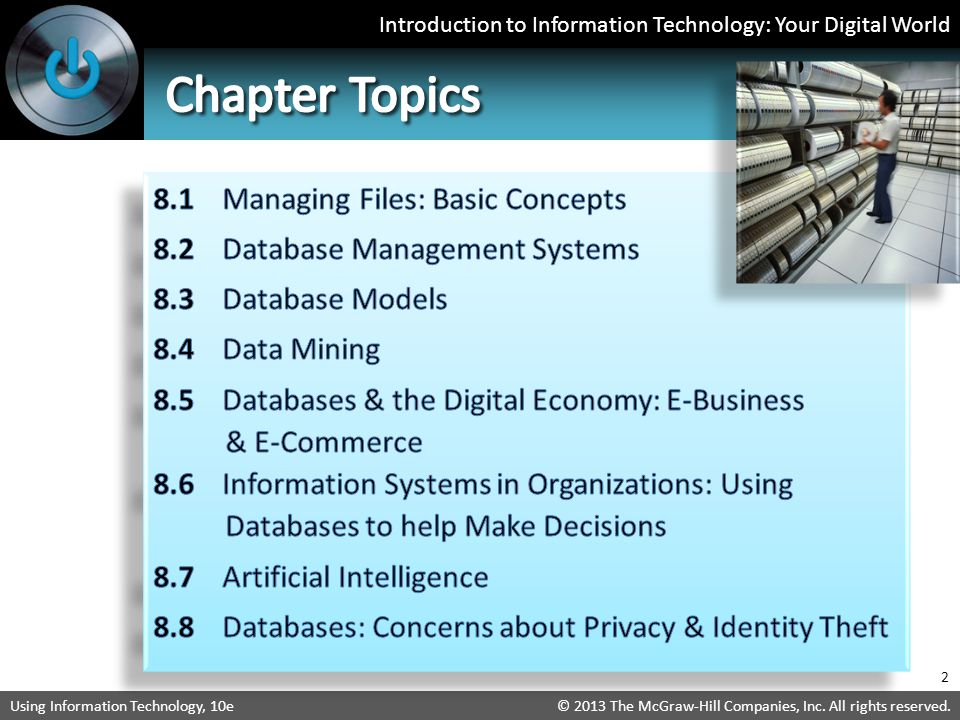 Chapter Topics 8.1 Managing Files: Basic Concepts
