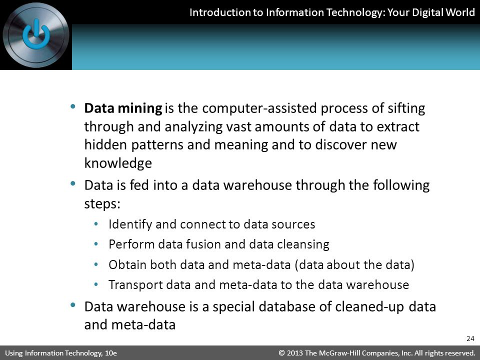 Data is fed into a data warehouse through the following steps: