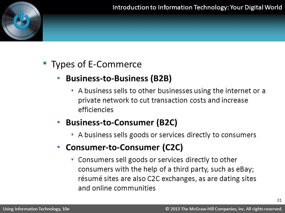Types of E-Commerce Business-to-Business (B2B)