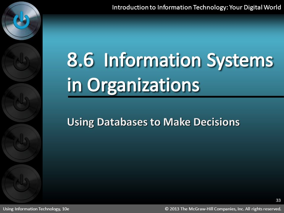 8.6 Information Systems in Organizations