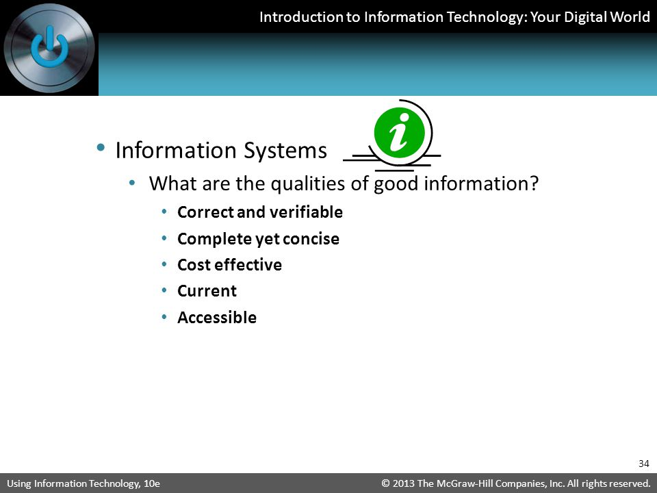 Information Systems What are the qualities of good information