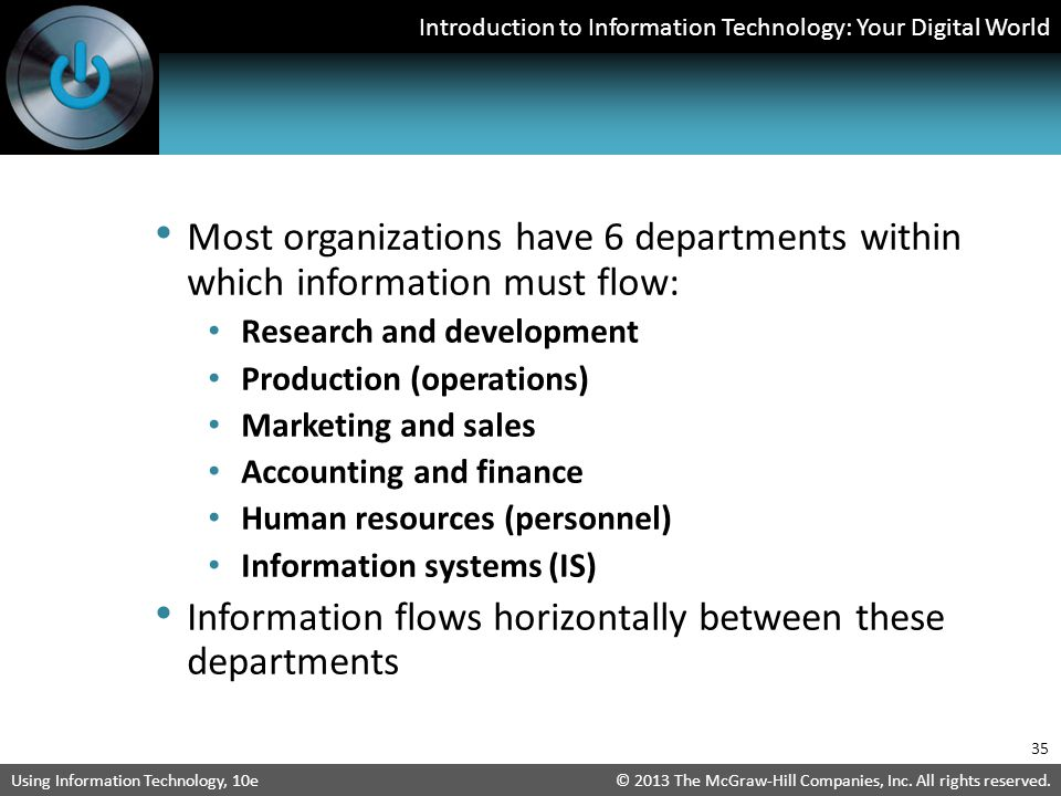 Information flows horizontally between these departments